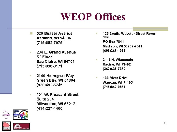 WEOP Offices n 620 Beaser Avenue Ashland, WI 54806 (715)682 -7975 § 204 E.