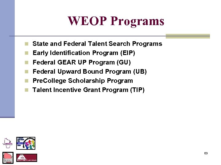 WEOP Programs n State and Federal Talent Search Programs n Early Identification Program (EIP)