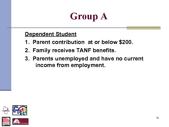 Group A Dependent Student 1. Parent contribution at or below $200. 2. Family receives