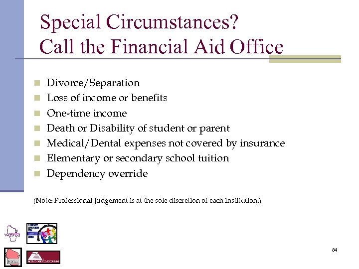Special Circumstances? Call the Financial Aid Office n Divorce/Separation n Loss of income or