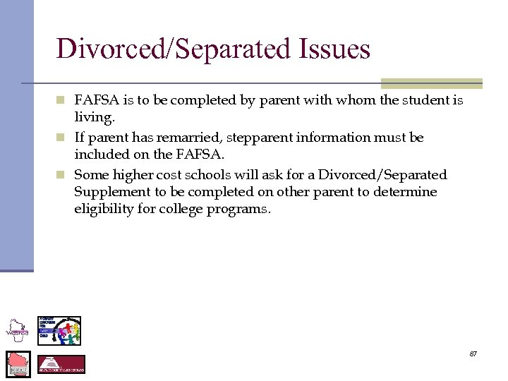 Divorced/Separated Issues n FAFSA is to be completed by parent with whom the student