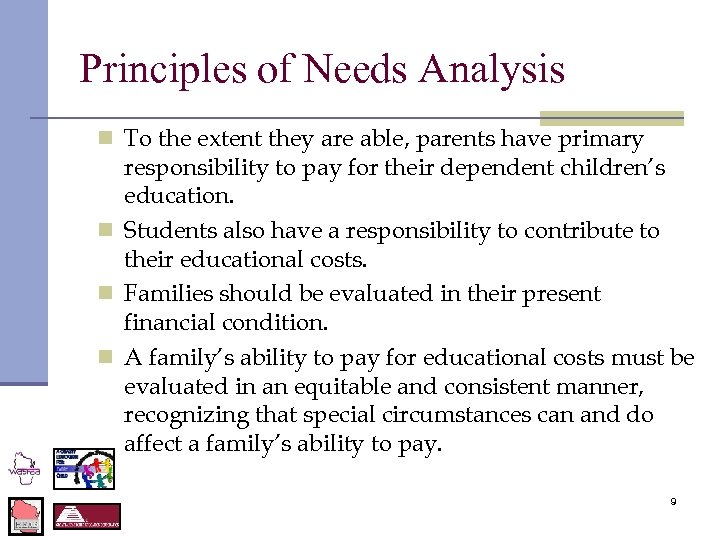 Principles of Needs Analysis n To the extent they are able, parents have primary