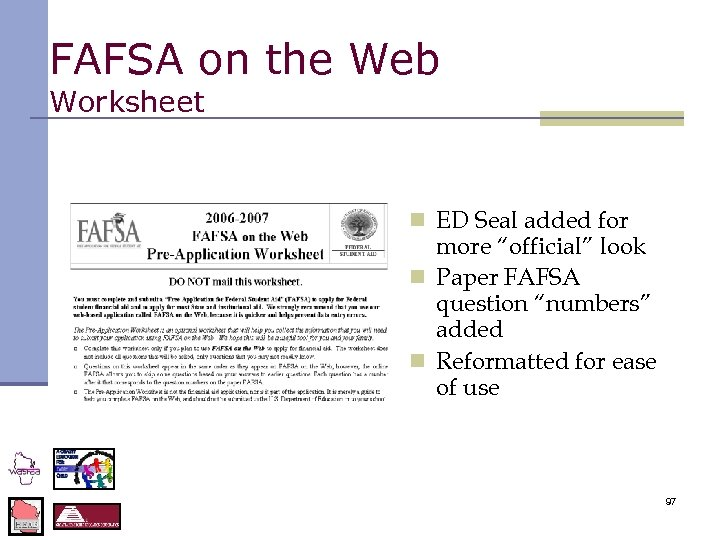 """FAFSA on the Web Worksheet n ED Seal added for more """"official"""" look n"""
