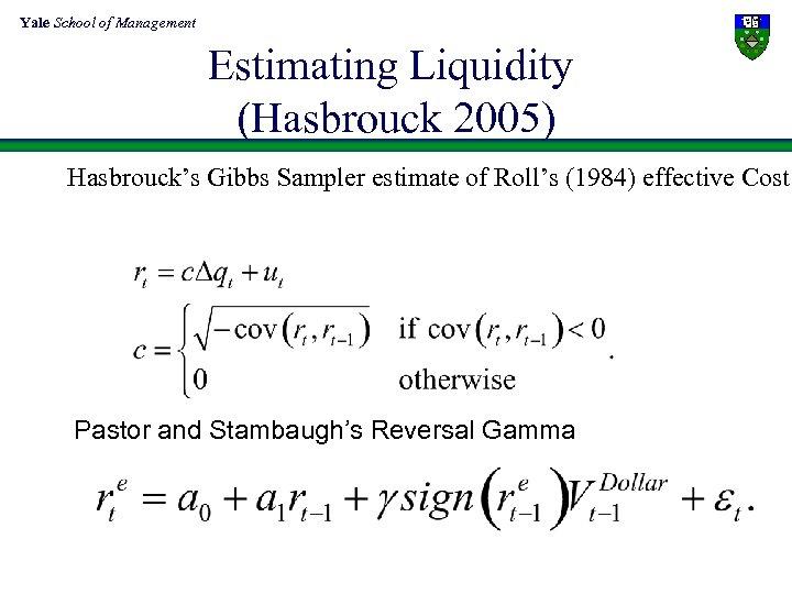 Yale School of Management Estimating Liquidity (Hasbrouck 2005) Hasbrouck's Gibbs Sampler estimate of Roll's