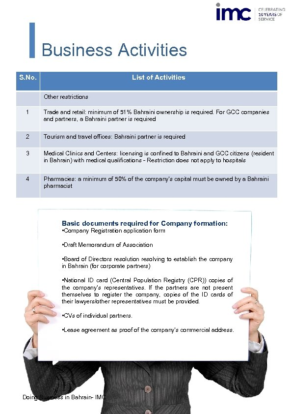 Business Activities S. No. List of Activities Other restrictions 1 Trade and retail: minimum