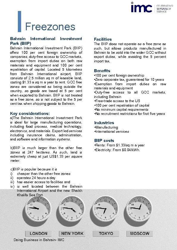 Freezones Bahrain International Park (BIIP) Investment Bahrain International Investment Park (BIIP) offers 100 per