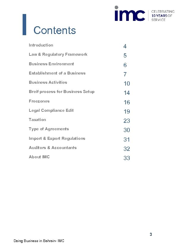 Contents Introduction 4 Law & Regulatory Framework 5 Business Environment 6 Establishment of a