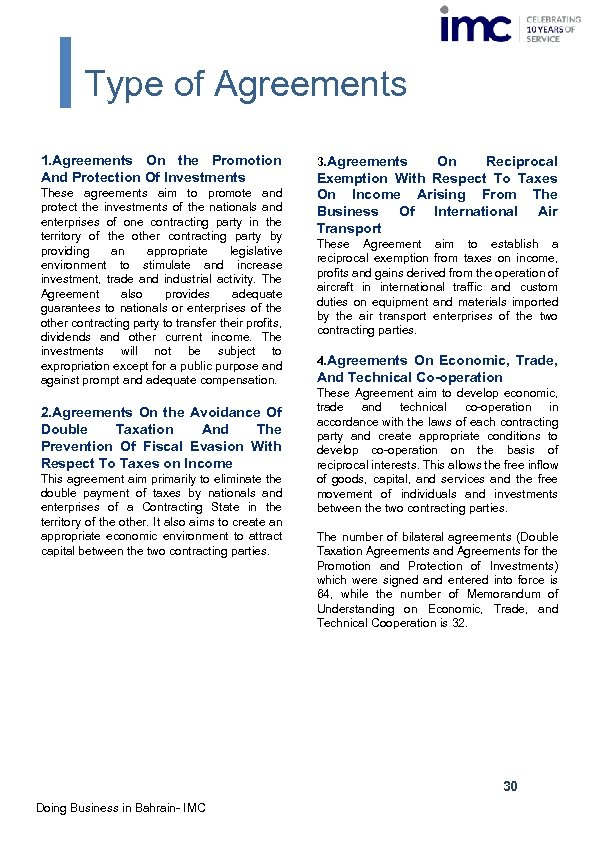 Type of Agreements 1. Agreements On the Promotion And Protection Of Investments These agreements