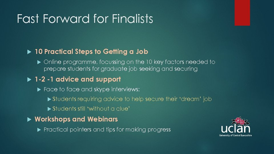 Fast Forward for Finalists 10 Practical Steps to Getting a Job Online programme, focussing