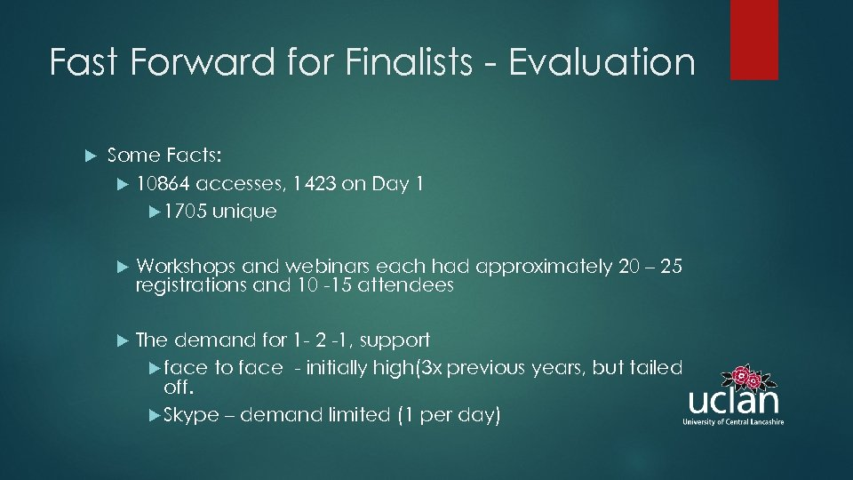 Fast Forward for Finalists - Evaluation Some Facts: 10864 accesses, 1423 on Day 1