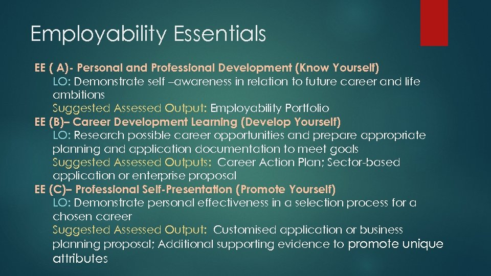 Employability Essentials EE ( A)- Personal and Professional Development (Know Yourself) LO: Demonstrate self