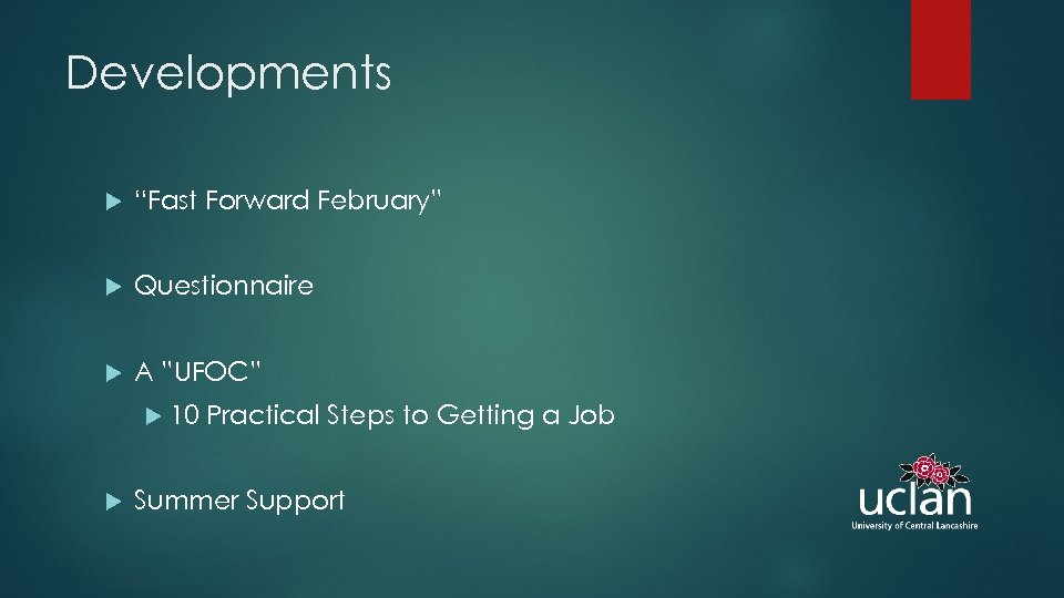 """Developments """"Fast Forward February"""" Questionnaire A """"UFOC"""" 10 Practical Steps to Getting a Job"""