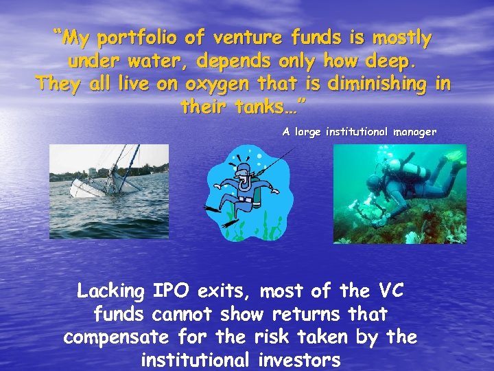"""""""My portfolio of venture funds is mostly under water, depends only how deep. They"""