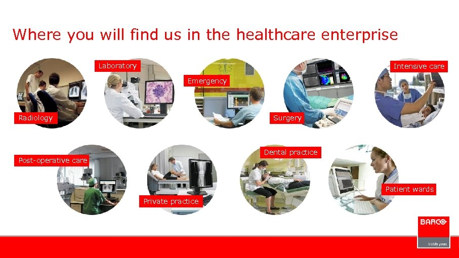 Where you will find us in the healthcare enterprise Laboratory Intensive care Emergency Radiology