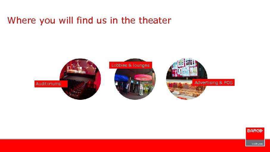 Where you will find us in theater Lobbies & lounges Auditoriums Advertising & POS