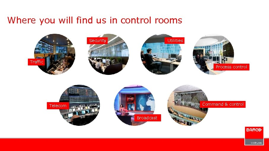 Where you will find us in control rooms Security Utilities Traffic Process control Command