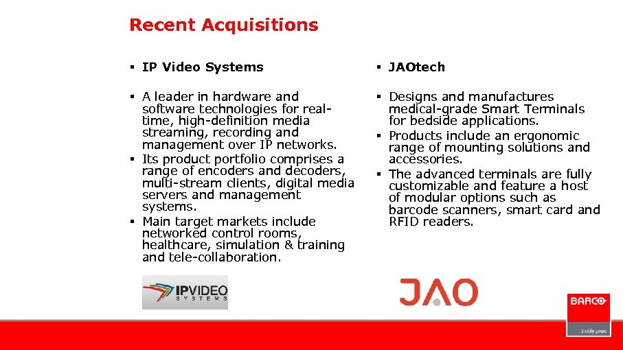 Recent Acquisitions § IP Video Systems § JAOtech § A leader in hardware and