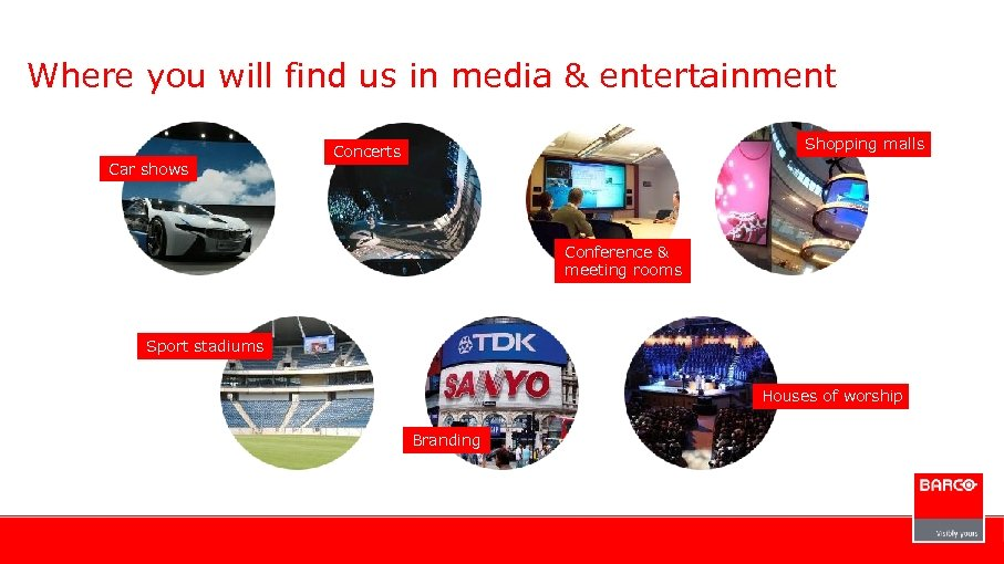 Where you will find us in media & entertainment Car shows Shopping malls Concerts