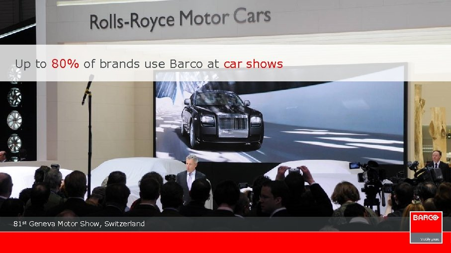 Up to 80% of brands use Barco at car shows 81 st Geneva Motor
