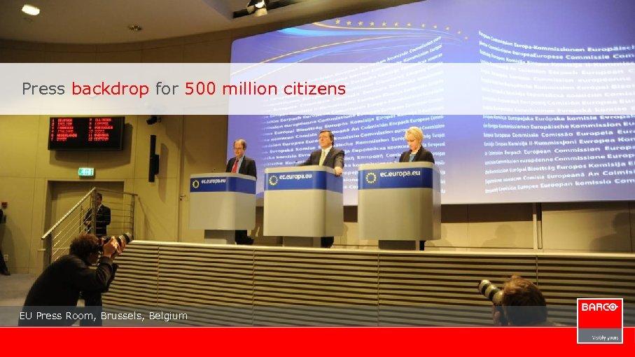 Press backdrop for 500 million citizens EU Press Room, Brussels, Belgium