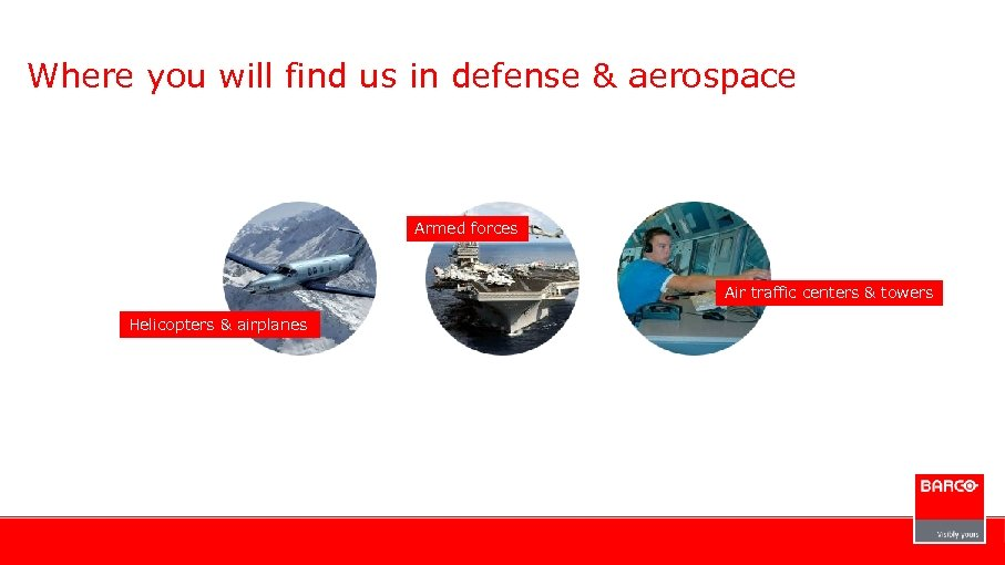 Where you will find us in defense & aerospace Armed forces Air traffic centers