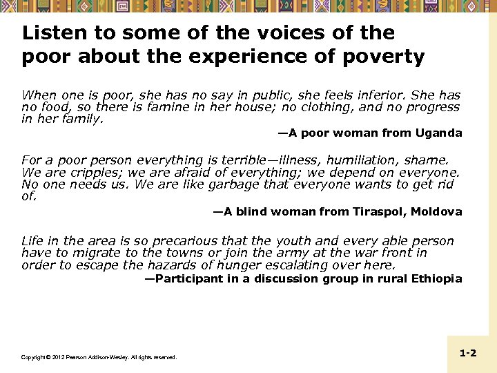 Listen to some of the voices of the poor about the experience of poverty