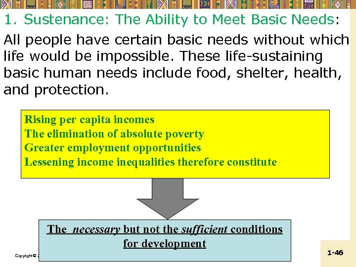 1. Sustenance: The Ability to Meet Basic Needs: All people have certain basic needs