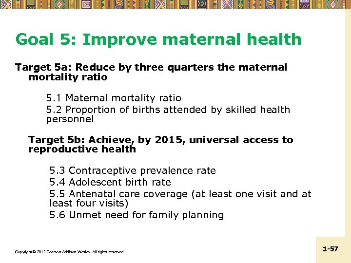 Goal 5: Improve maternal health Target 5 a: Reduce by three quarters the maternal