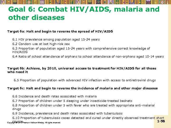 Goal 6: Combat HIV/AIDS, malaria and other diseases Target 6 a: Halt and begin