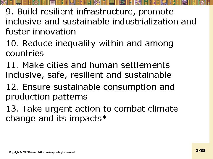 9. Build resilient infrastructure, promote inclusive and sustainable industrialization and foster innovation 10. Reduce