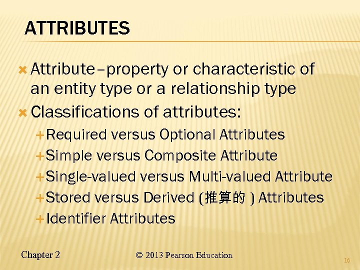 ATTRIBUTES Attribute–property or characteristic of an entity type or a relationship type Classifications of