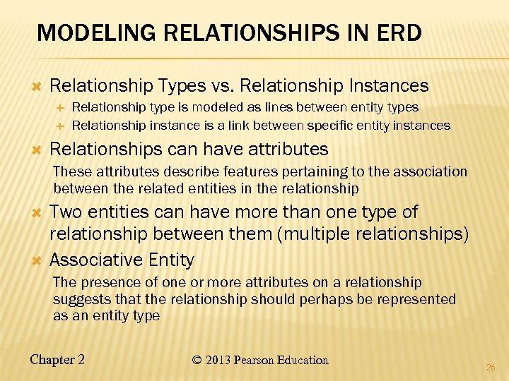 MODELING RELATIONSHIPS IN ERD Relationship Types vs. Relationship Instances Relationship type is modeled as