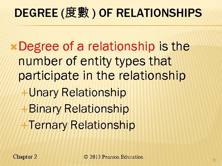 DEGREE (度數 ) OF RELATIONSHIPS ( Degree of a relationship is the number of