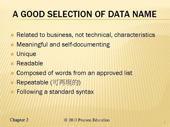A GOOD SELECTION OF DATA NAME Related to business, not technical, characteristics Meaningful and