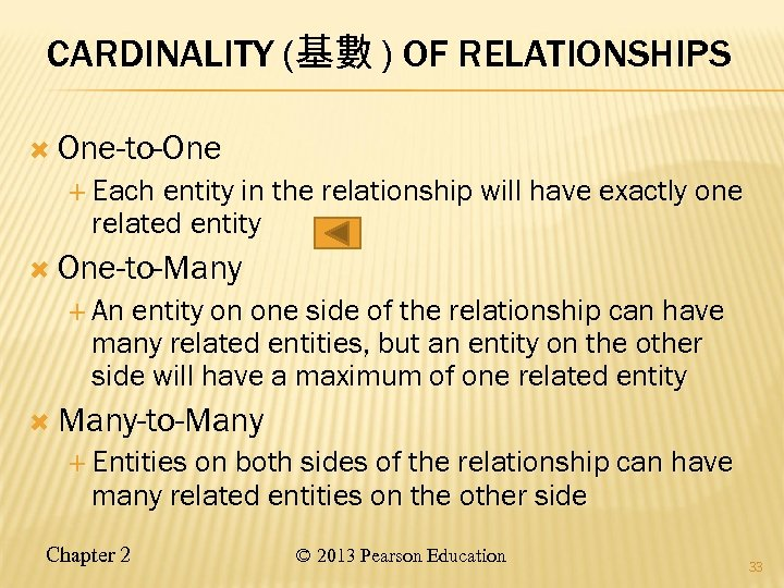CARDINALITY (基數 ) OF RELATIONSHIPS One-to-One Each entity in the relationship will have exactly