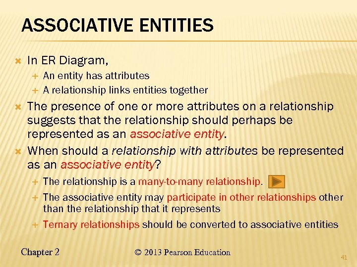 ASSOCIATIVE ENTITIES In ER Diagram, An entity has attributes A relationship links entities together