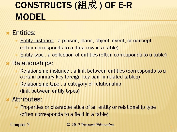 CONSTRUCTS (組成 ) OF E-R MODEL Entities: Relationships: Entity instance : a person, place,