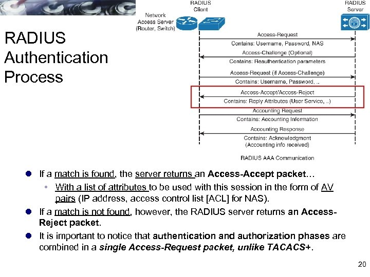 RADIUS Authentication Process l If a match is found, the server returns an Access-Accept