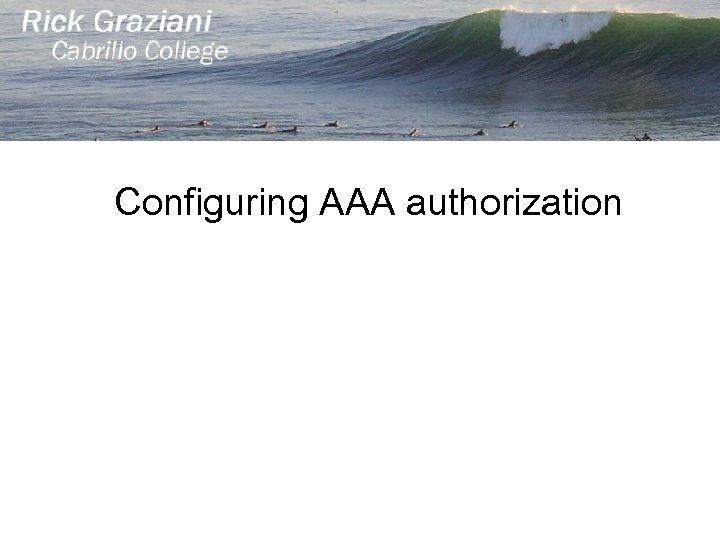 Configuring AAA authorization