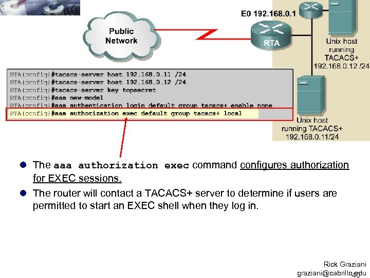 l The aaa authorization exec command configures authorization for EXEC sessions. l The router