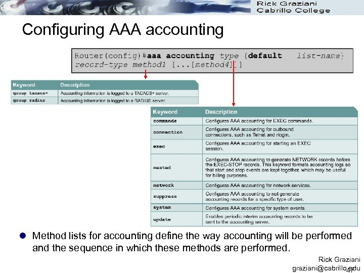 Configuring AAA accounting l Method lists for accounting define the way accounting will be