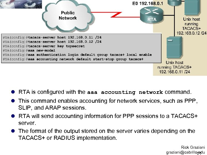 l RTA is configured with the aaa accounting network command. l This command enables