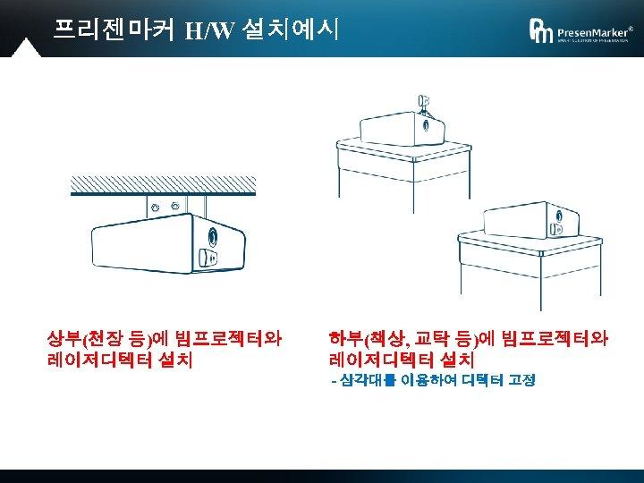 프리젠마커 H/W 설치예시 상부(천장 등)에 빔프로젝터와 레이저디텍터 설치 하부(책상, 교탁 등)에 빔프로젝터와 레이저디텍터 설치