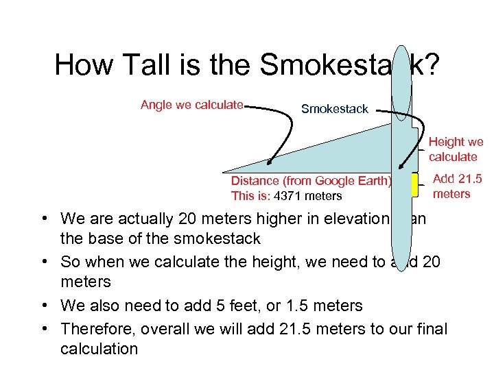 How Tall is the Smokestack? Angle we calculate Smokestack Height we calculate Distance (from