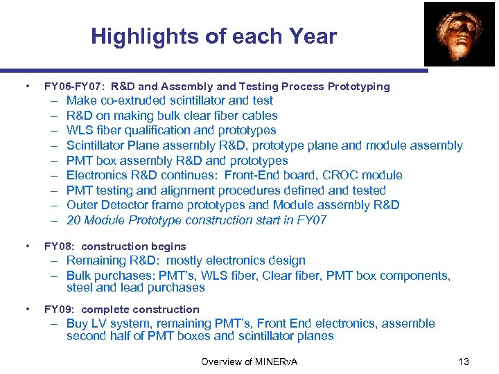 Highlights of each Year • FY 06 -FY 07: R&D and Assembly and Testing