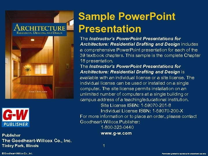 Sample Power. Point Presentation Publisher The Instructor's Power. Point Presentations for Architecture: Residential Drafting
