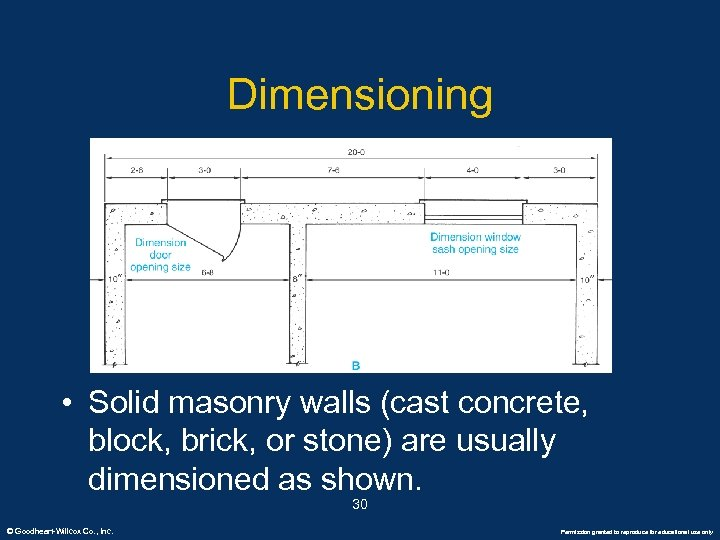 Dimensioning • Solid masonry walls (cast concrete, block, brick, or stone) are usually dimensioned