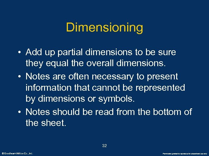 Dimensioning • Add up partial dimensions to be sure they equal the overall dimensions.