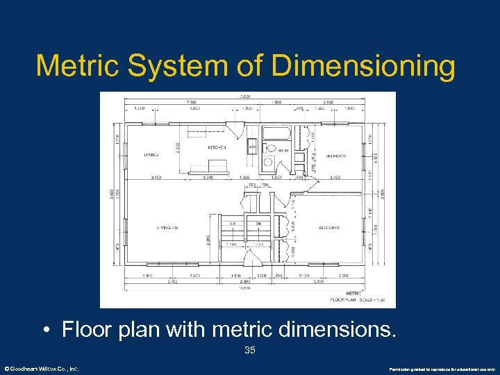 Metric System of Dimensioning • Floor plan with metric dimensions. 35 © Goodheart-Willcox Co.