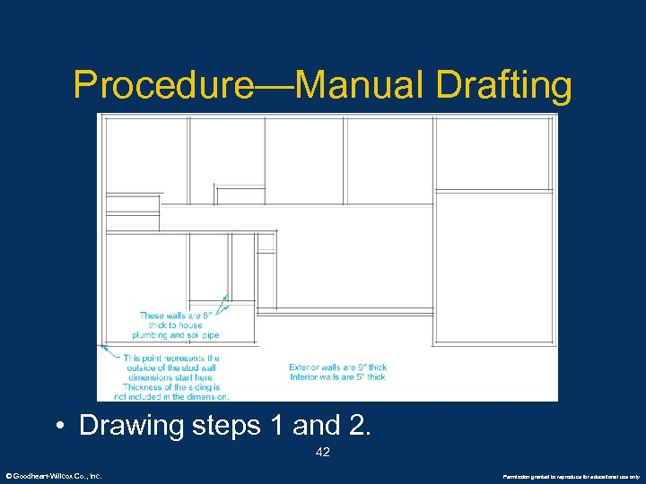Procedure—Manual Drafting • Drawing steps 1 and 2. 42 © Goodheart-Willcox Co. , Inc.